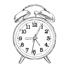 Vector hand drawn sketch alarm clock
