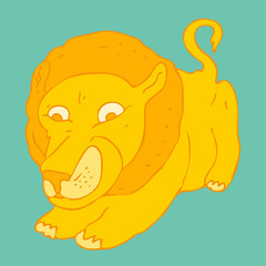 Cute lion cartoon vector illustration, hand drawn