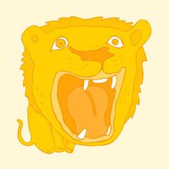Cute cartoon lion growls  vector illustration, hand drawn