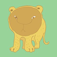 Cute lioness (lion) cartoon vector illustration, hand drawn