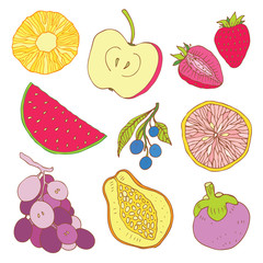 Set of tropical fruit.