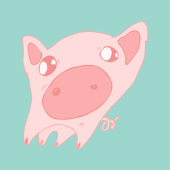 funny piglet surprised vector illustration, hand drawn