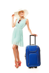 happy smiling woman with travel bag going to summer vacation on