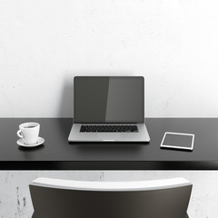workplace with laptop on white table