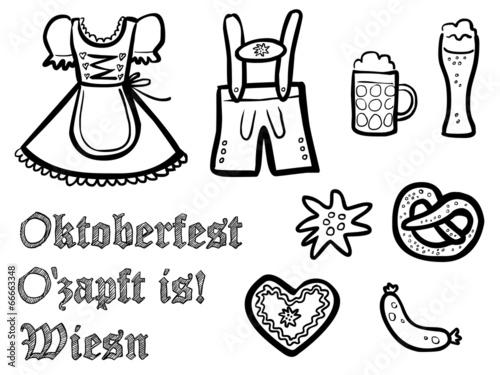 """""""schwarz-weiße, handgezeichnete oktoberfest-symbole"""