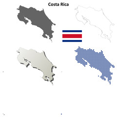Costa Rica blank detailed outline map set