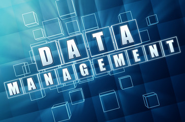 data management in blue glass blocks