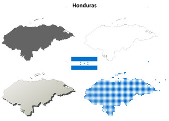 Honduras blank detailed outline map set
