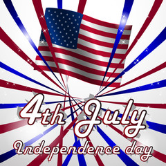 Independence day, vector background with US flag on background