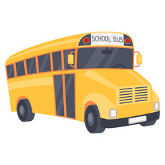 Illustration of yellow school bus in cartoon style.