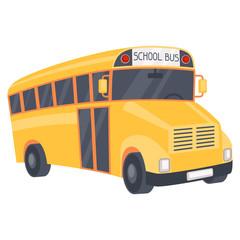 Illustration of yellow school bus in cartoon style.