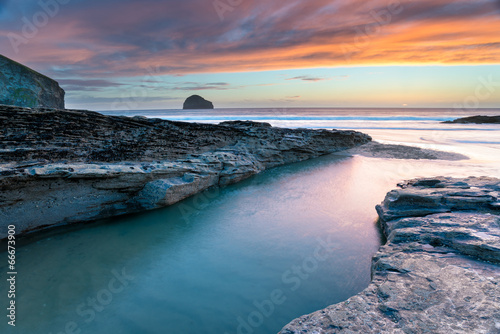 Wall mural Sunset at Trebarwith Beach