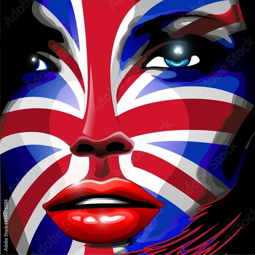 UK Union Jack Flag Girl Portrait