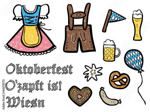 """""""farbige, handgezeichnete oktoberfest-symbole - vektor"""