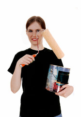 Woman with paint can.