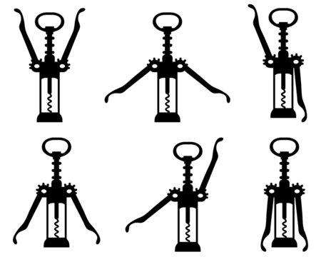 Black silhouettes of corkscrew 4, vector