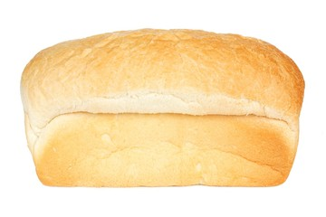 Loaf of white bread isolated on a white background