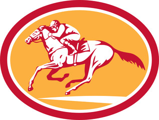 Jockey Riding Horse Racing Circle Retro