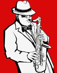 Photo sur Aluminium Art Studio Jazz music saxophonist on a red background