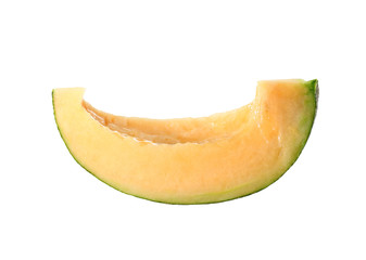 Cantaloupe melon cut into slices isolated on white.