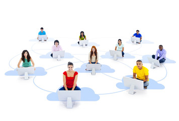 Multi-Ethnic People Sitting on a Cloud With Computers