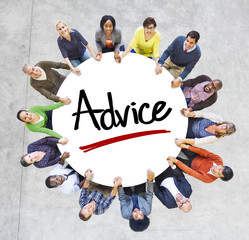 Multi-Ethnic Group of People and Advice Concepts