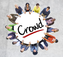 Diverse People in a Circle with Crowd Concept