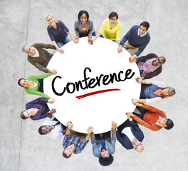 Diverse People in a Circle with Conference Concept