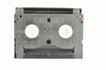 Old and dusty Video camera tape with white background