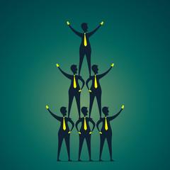 men celebrate success to make pyramid concept