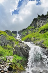 Beautiful waterfall in Carpathians mountains
