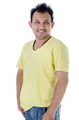 Handsome Asian man with yellow shirt