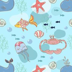 Cartoon marine seamless pattern for design