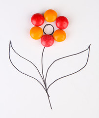 Beautiful still life composition with sweet candies. Food art