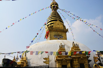 Swayambhunath Temple or Monkey Temple with  Wisdom eyes