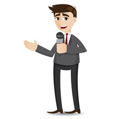 cartoon businessman tailking with microphone