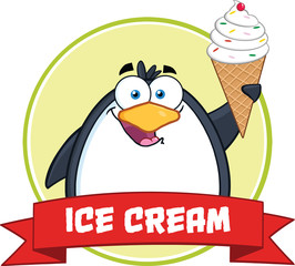Smiling Penguin With Ice Cream Circle Banner And Text