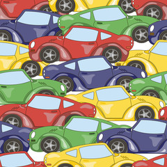 colored seamless pattern cars