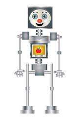 robot z jabłkiem