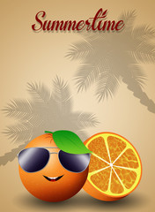 Orange with sunglasses for summertime