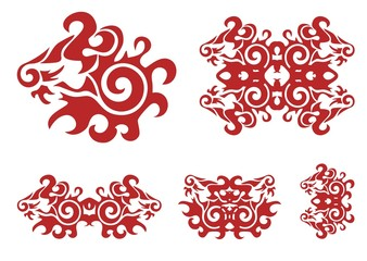 Twirled ornate red lion head and lion elements