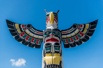 Totem pole at Duncan Vancouver island