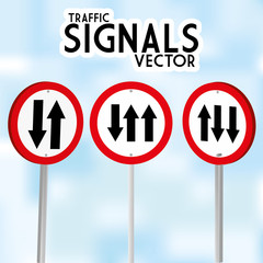 Traffic Signs Isolated On Blue Background
