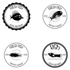 Set Of Different Fish Labels Isolated