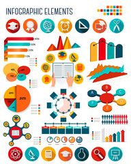Big set of Education infographics elements. Vector.