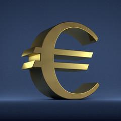 Golden euro sign on blue