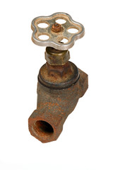 Old rusty brown pipe with crane