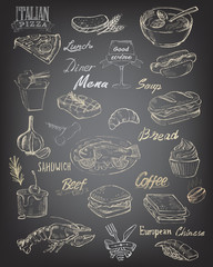 hand drawn food and meal
