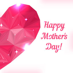 Happy Mother day. Love symbol. Pink origami heart on white.
