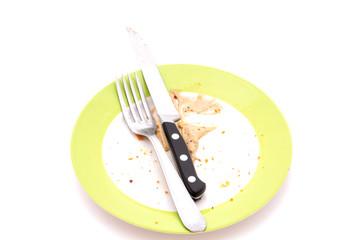couverts et assiette sale